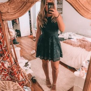 A Line Fit and Flare Navy Blue Dress